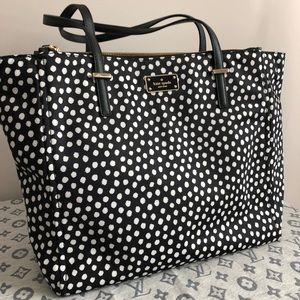 Kate Spade Black and White Cheetah Nylon Tote Bag